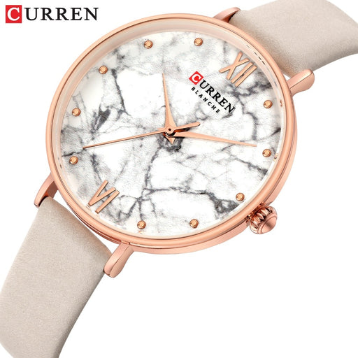 CURREN Marble Texture Soft Leather Strap Wrist Watch