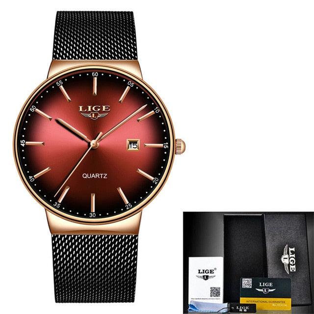 LIGE Mens Watches Luxury Waterproof Ultra Thin Dial Quartz Watch