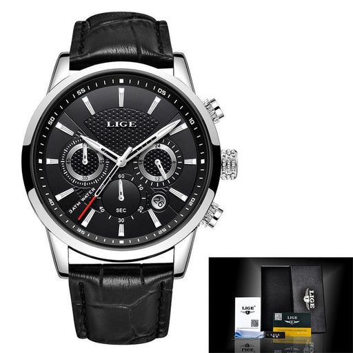 LIGE Luxury Leather Mens Watch