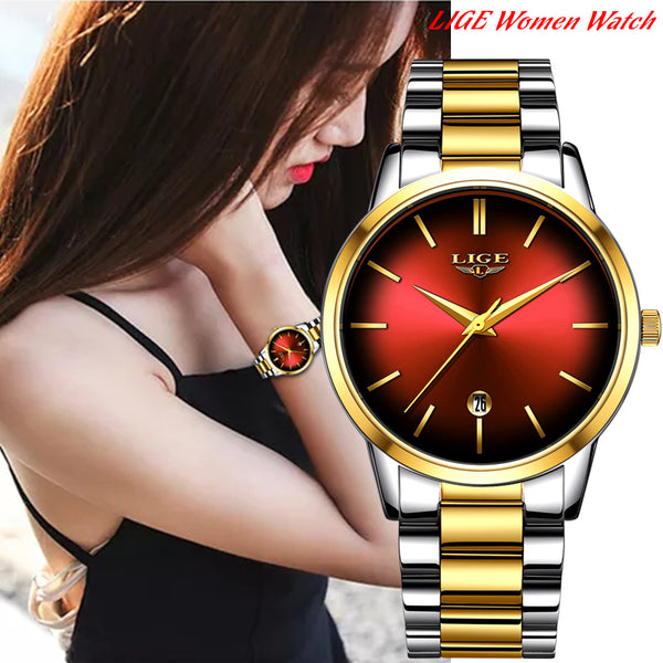 LIGE Women Luxury Business Wrist Watch