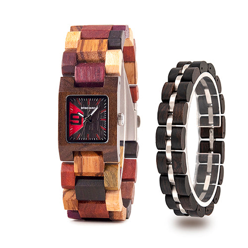 BOBO BIRD Women Watch Bracelet Set Wooden Quartz Watches Timepieces Girlfriend Gifts Set Relogio Feminino in wood Box