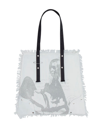 White Distressed Tote Bag