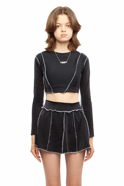 Black Contrast Seam Long Sleeve Crop Top