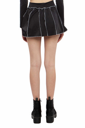 Black Contrast Seam Tennis Skirt