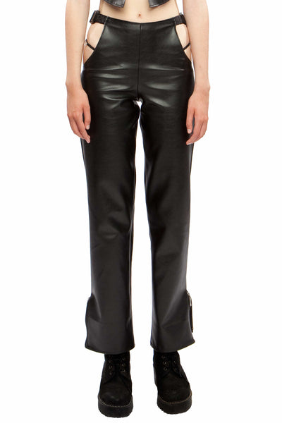 (Vegan) Leather Cutout Buckle Pants