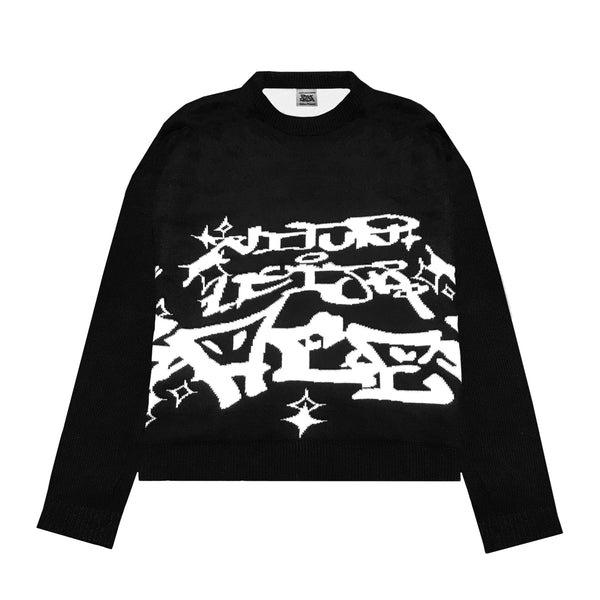 vitunleija® x Racer Worldwide® Black Knit Sweater