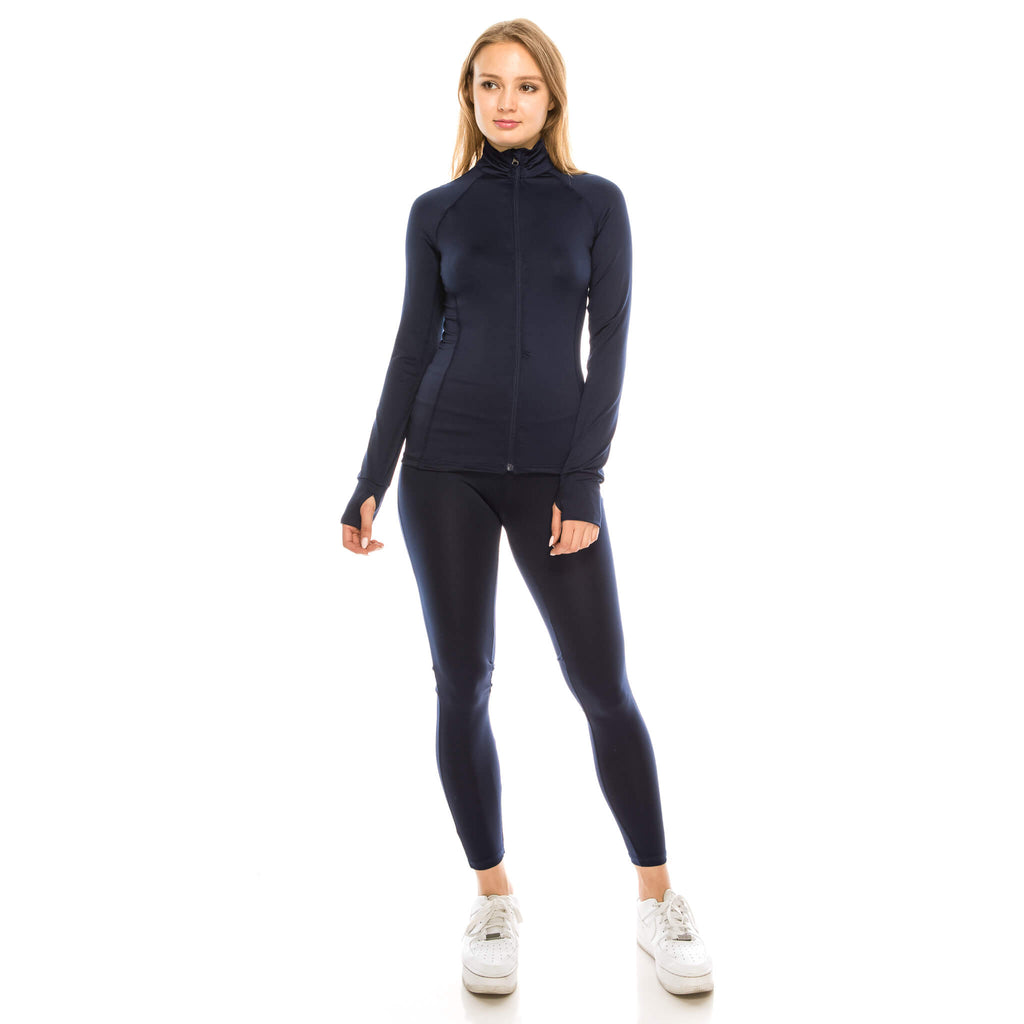 Women's Tracksuit- Aspire Zone- Women's silky, smooth two piece tracksuit.  Features zip up jacket with thumb holes.  Multiple pockets for convenience.   Gentle shaping added for feminine fit thought out.   Great for work out, or leisure.  Available in Navy Blue.