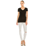 V Neck Tee - Aspire Zone-Women's Premium Comfort tee.  Features a V Neck front.  Gentle shaping added for a feminine fit.  Made of cotton with just the right amount of stretch.  Available in Pitch Black.