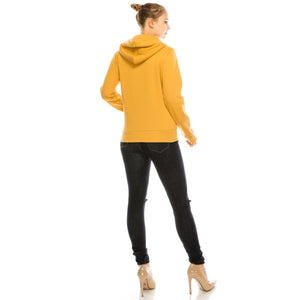 Plush Fleece Hoodie - Aspire Zone-Plush Hoodie for women.  Brushed fleece on the inside for ultimate comfort.  Features double lined, drawstring hood.  Ribbed hem and cuffs help retain warmth.   Available in Sunburst Yellow.