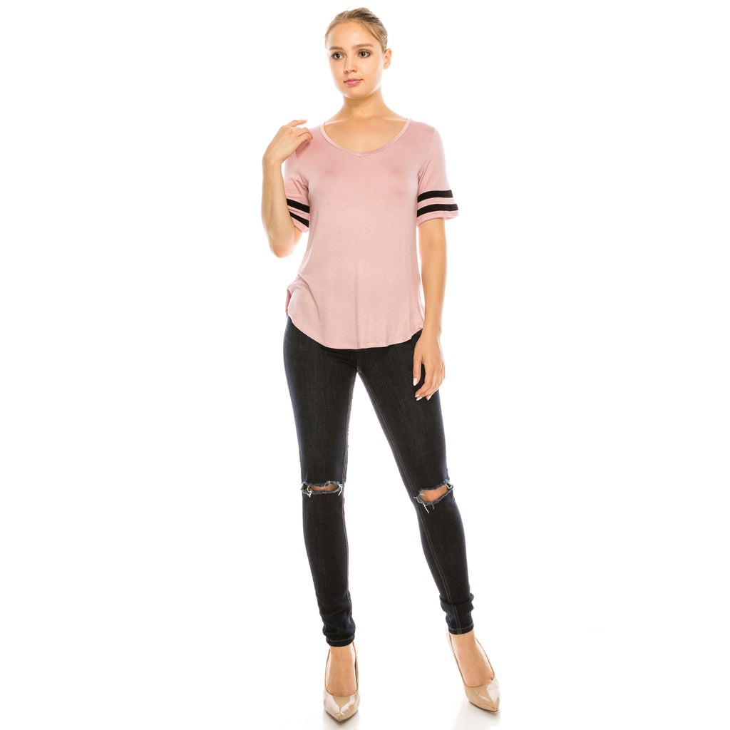 Satiny Tee - Aspire Zone-Women's Satiny T-Shirt.  Features two contrast stripes on sleeves.  Free flow fit with stretch.  High low T-shirt with curved hem.  Available in Rose Pink
