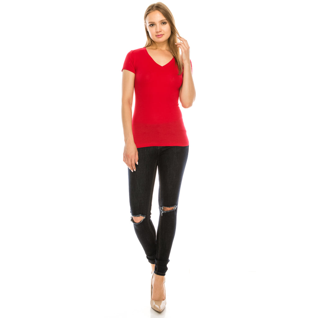 V Neck Tee - Aspire Zone-Women's fitted, short sleeve t-shirt.  Great to dress up or down, add as a wardrobe staple.   Gentle shaping added, and sits at hip.  Made of cotton, and spandex to provide perfect fit.  Available in Red.