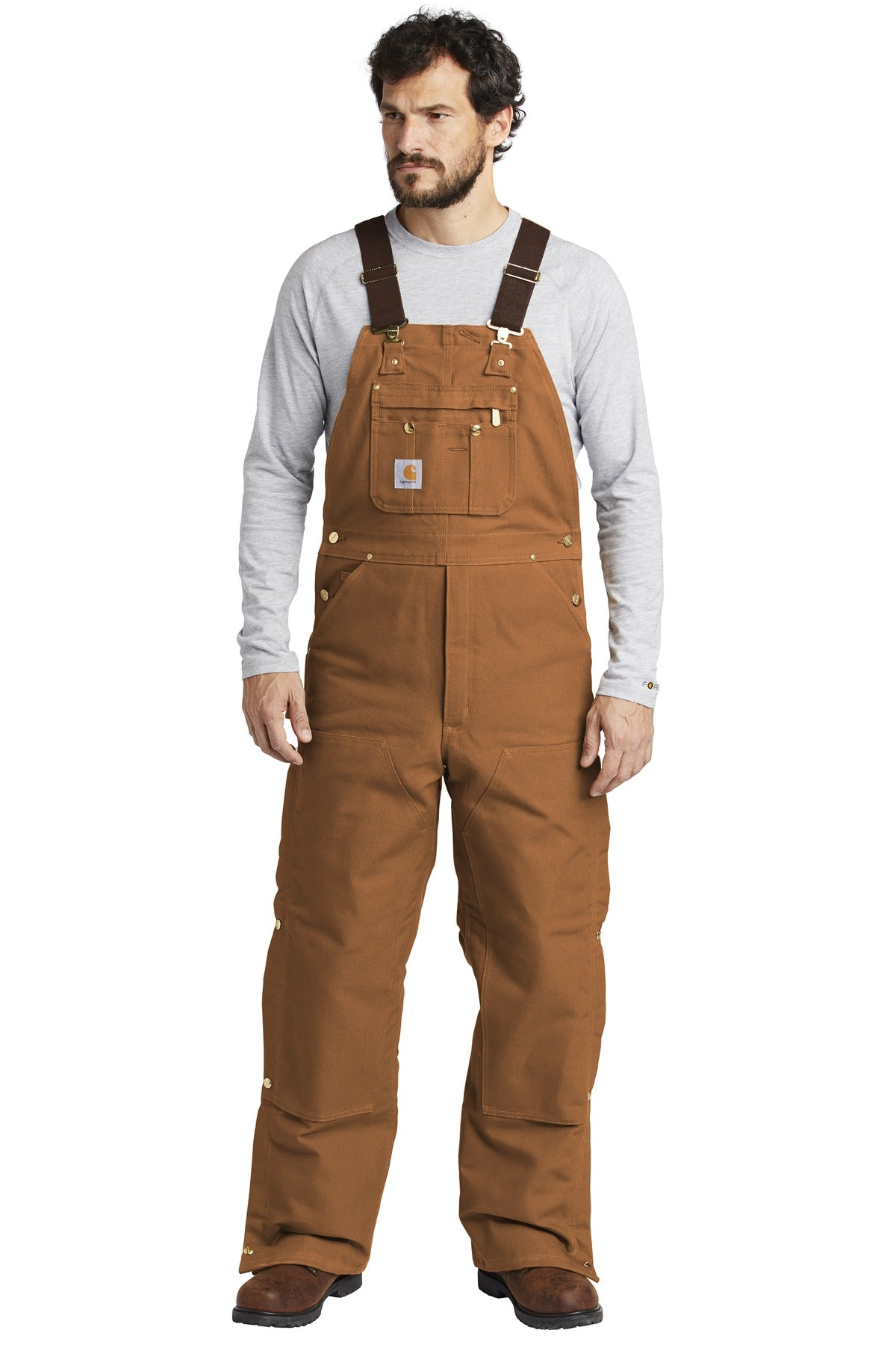 Carhartt ® Duck Quilt-Lined Zip-To-Thigh Bib Overalls. CTR41 - Aspire Zone