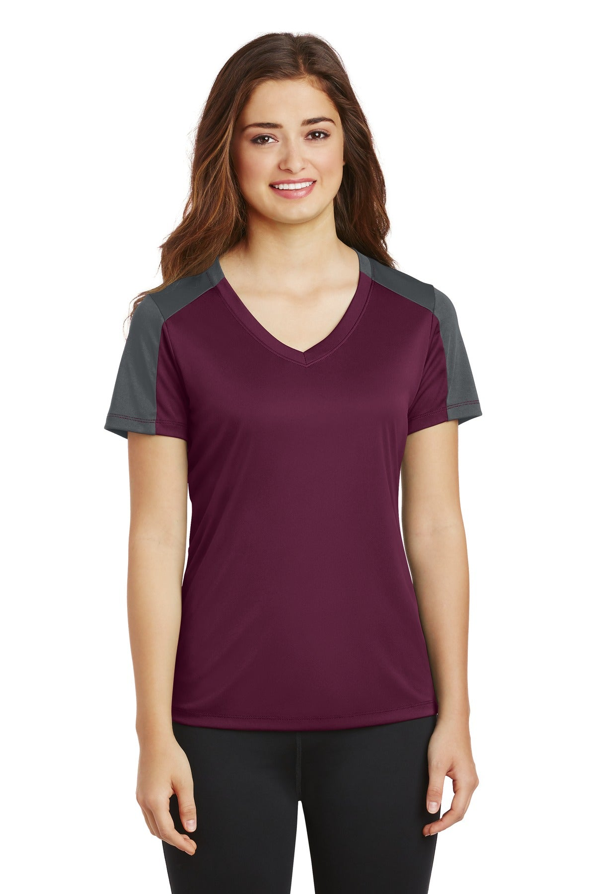 Sport-Tek® Ladies PosiCharge® Competitor™ Sleeve-Blocked V-Neck Tee. LST354