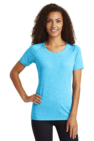 Sport-Tek ® Ladies PosiCharge ® Tri-Blend Wicking Scoop Neck Raglan Tee. LST400