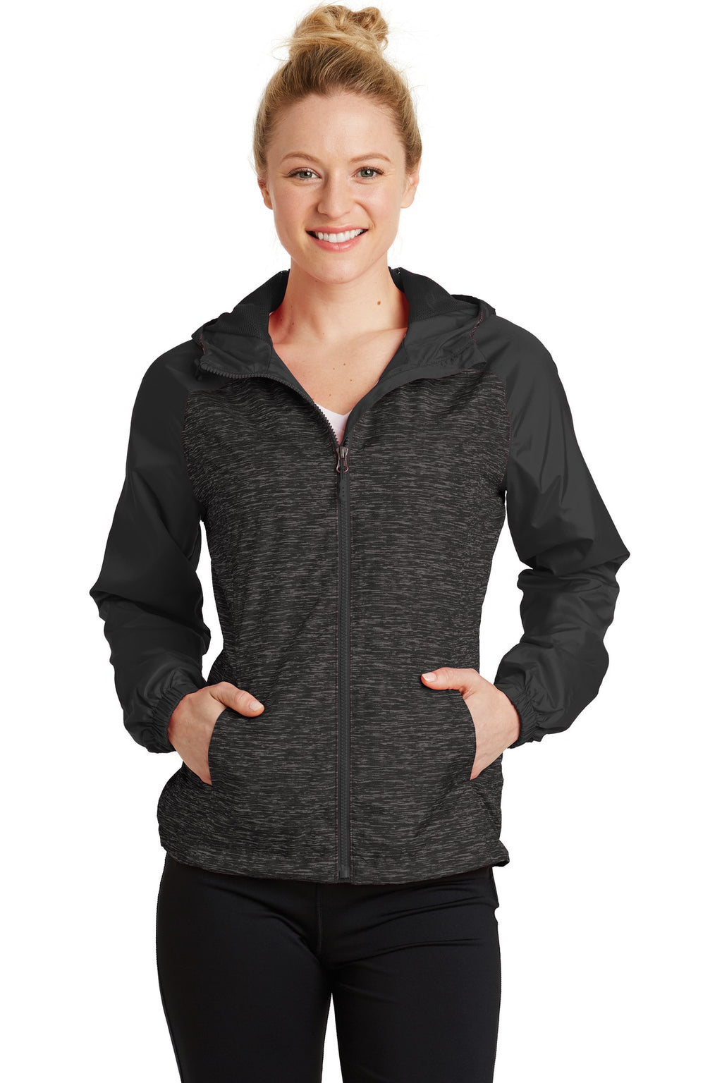Sport-Tek® Ladies Heather Colorblock Raglan Hooded Wind Jacket. LST40