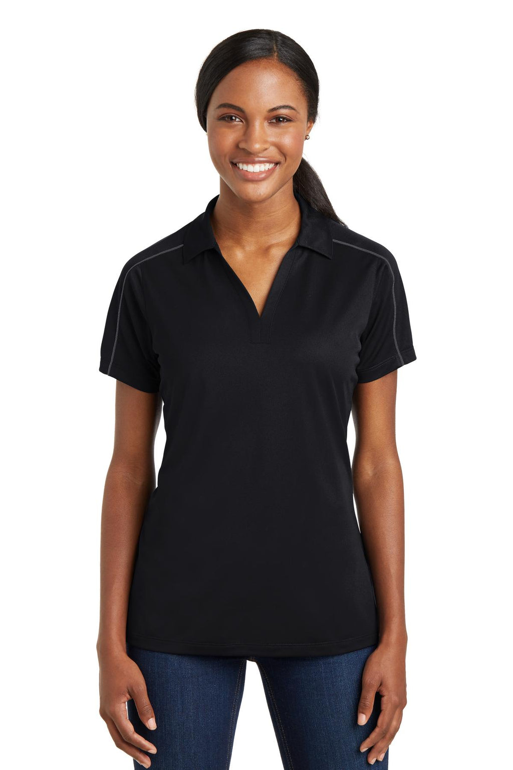 Sport-Tek® Ladies Micropique Sport-Wick® Piped Polo. LST653