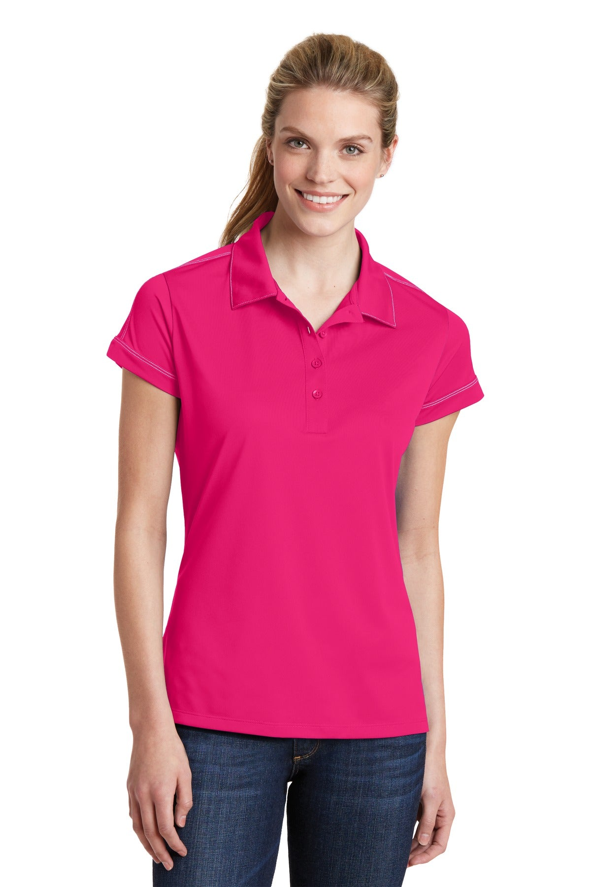 Sport-Tek® Ladies Contrast Stitch Micropique Sport-Wick® Polo. LST659