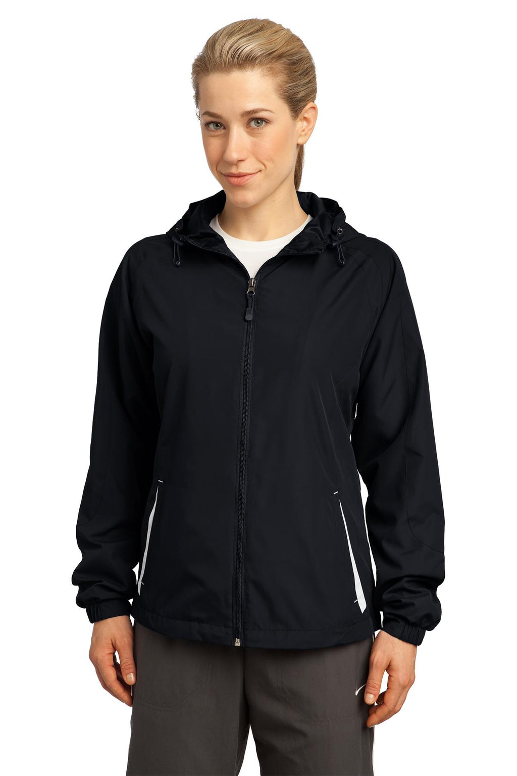 Sport-Tek® Ladies Colorblock Hooded Raglan Jacket. LST76
