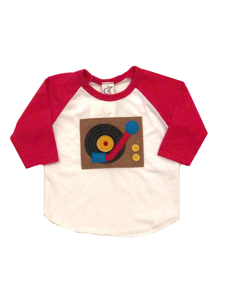 Turntable Red Toddler Baseball Tee
