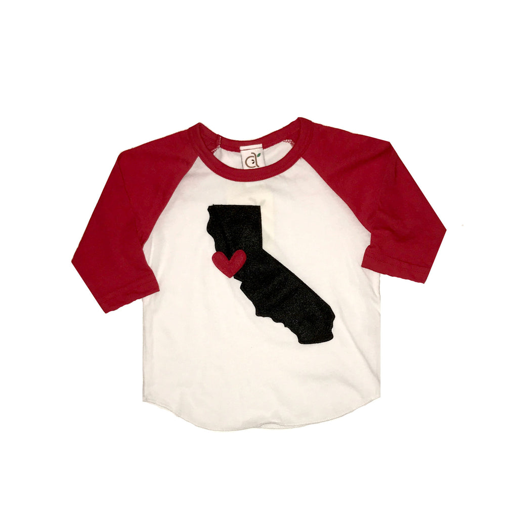 Cali Love Red Toddler Baseball Tee
