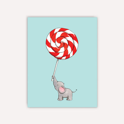 Elephant Lollipop Greeting Card