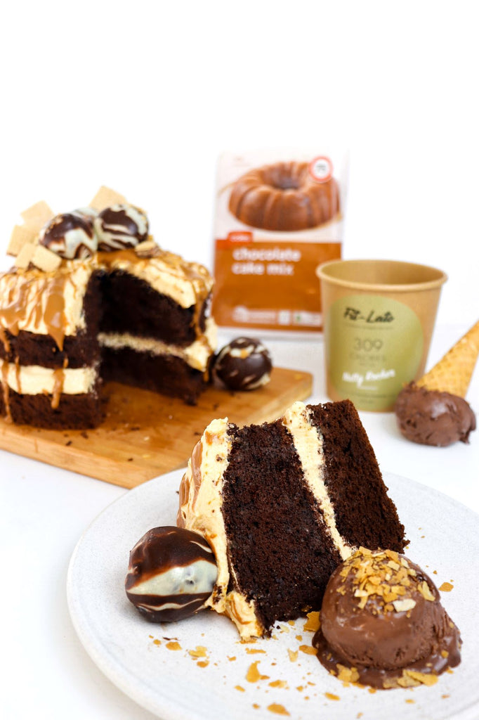 Fit-lato Chocolate, Hazelnut Cake with Peanut Butter Frosting
