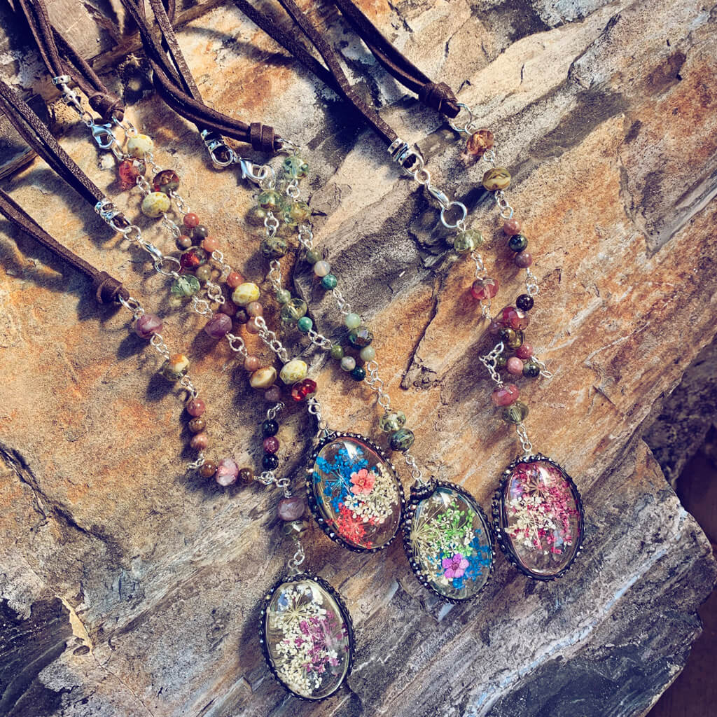 large boho bouquet // glass orb pressed flower pendant necklaces - by Peacock & Lime