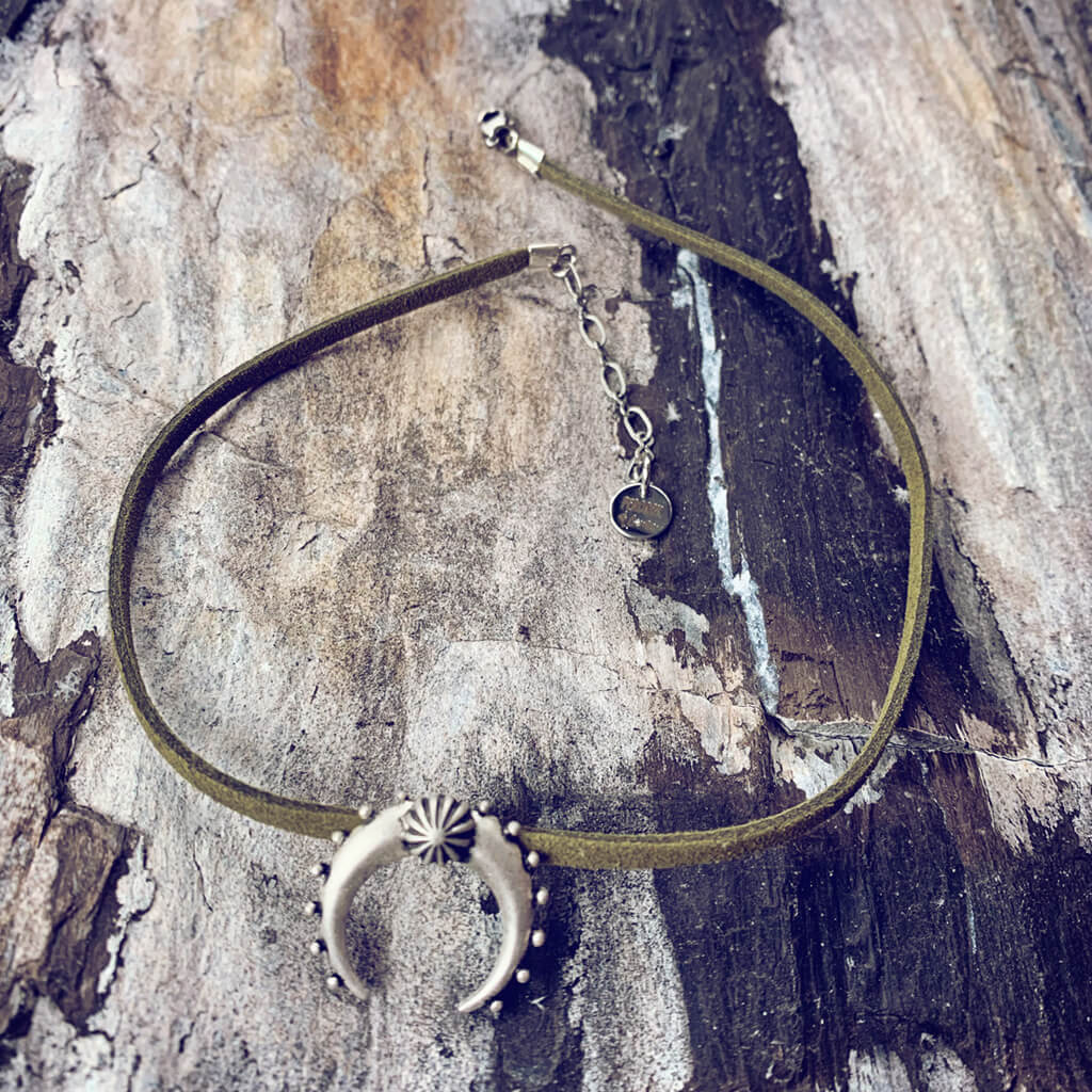 artemis // double horn crescent moon choker necklace - Peacock & Lime