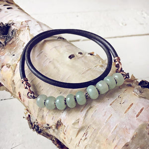 aventurine // thick leather wrap bracelet - choker - Peacock & Lime