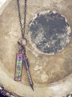 bling arrow and embossed metal tag pendant necklace - Peacock & Lime