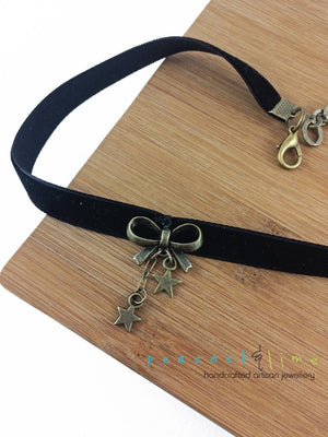 boho black velvet ribbon choker with bow and star charms - Peacock & Lime