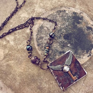 book of spells // mini journal blank book natural brass pendant necklace - Peacock & Lime
