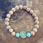 calm // blonde silkwood turquoise and czech glass mala bead bracelet - Peacock & Lime