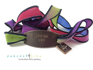 colourful boho brass tag and silk wrap bracelet - Peacock & Lime