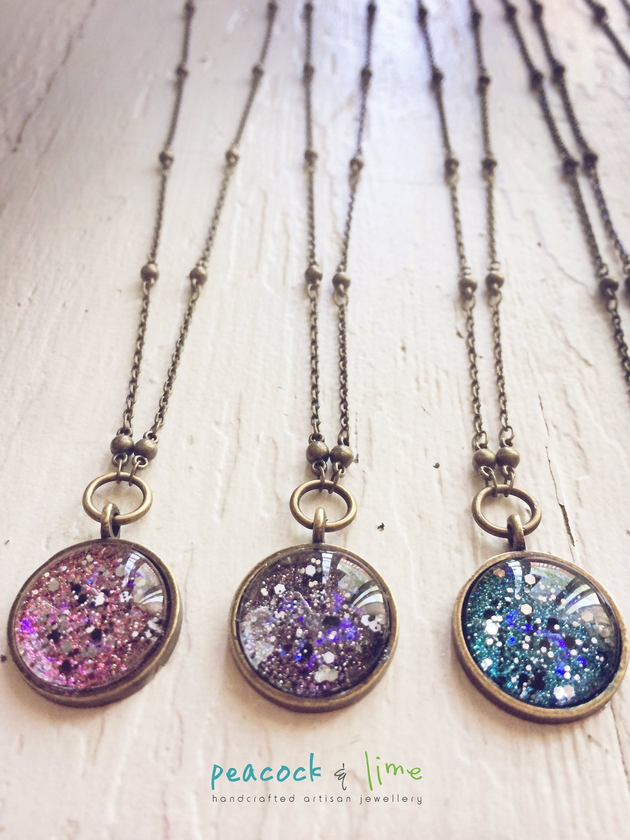 cosmic galaxy sparkly celestial necklace - Peacock & Lime