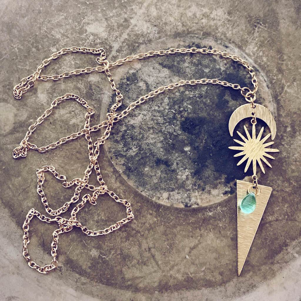 cosmic sky // crescent moon, sun, triangle & beach glass necklace - Peacock & Lime
