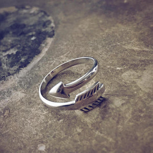 direction // sterling silver adjustable arrow ring - Peacock & Lime