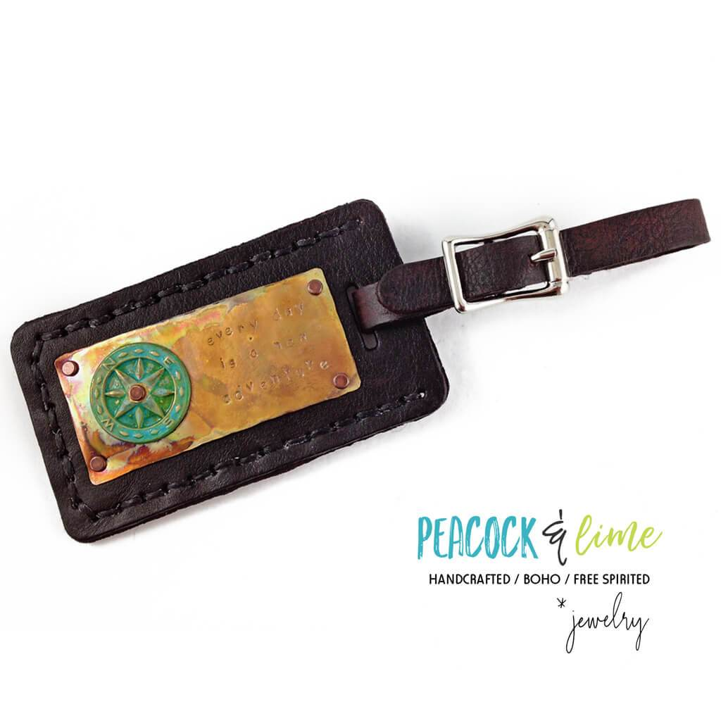 every day is a new adventure // leather luggage tag - Peacock & Lime