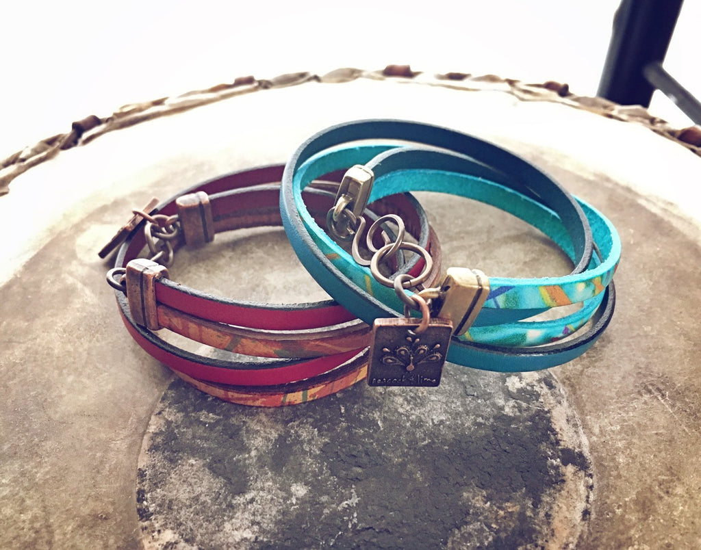 free spirit leather boho wrap bracelet - Peacock & Lime