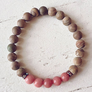 harmony // gemstone bead mala bracelet w sparkle - turquoise, pink jade or obsidian - Peacock & Lime