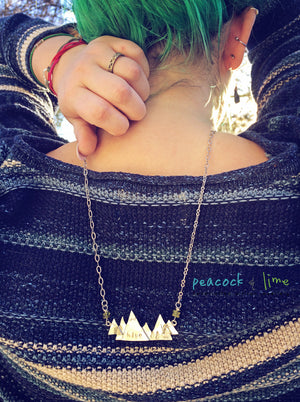 Hike pewter mountain pendant necklace - Peacock & Lime , the original Peacock and Lime boho jewelry
