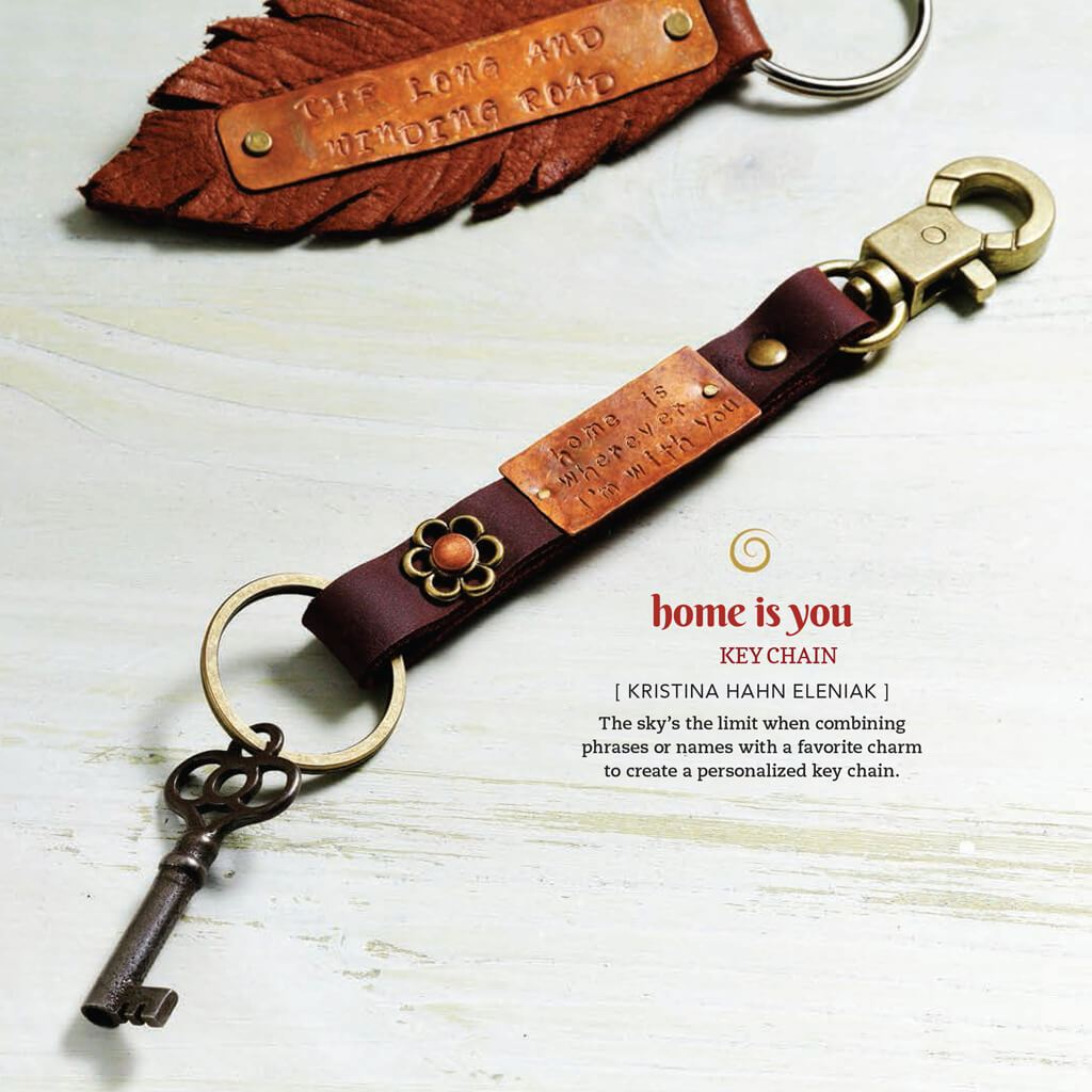 home is wherever i'm with you // leather, copper and brass key ring / key fob - Peacock & Lime