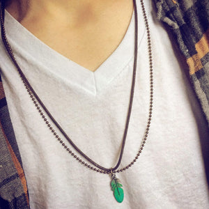 honor // men's rugged feather double strand necklace - Peacock & Lime