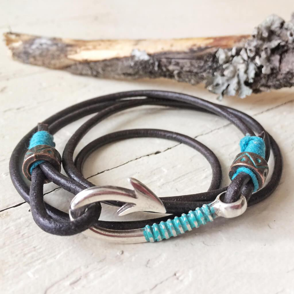 hook line & sinker // men's fish hook clasp leather wrap bracelet / choker - Peacock & Lime
