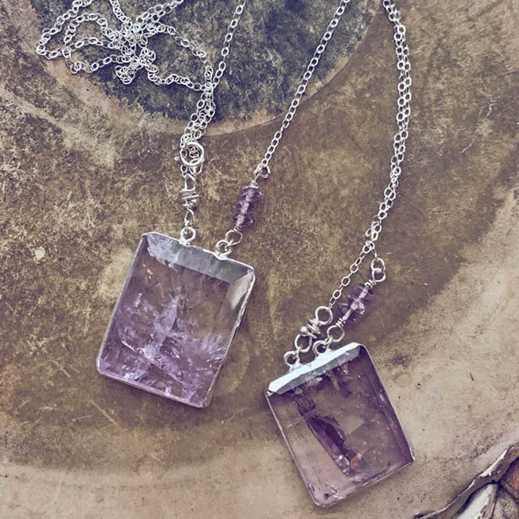 illumine // one of a kind - silver electroplated amethyst pendant necklace - Peacock & Lime