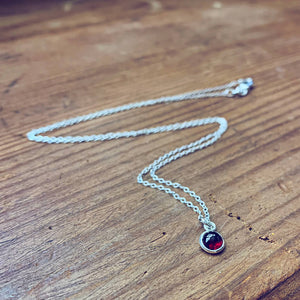 itty bitty Kepler 407 // garnet & sterling silver necklace - Peacock & Lime