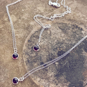 itty bitty Kepler 407 // garnet & sterling silver necklaces - Peacock & Lime