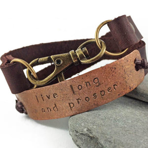 live long and prosper // leather and copper double wrap bracelet - Peacock & Lime