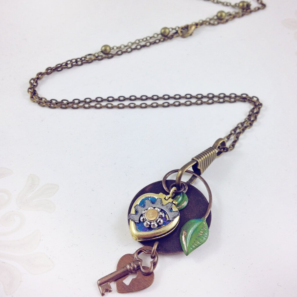 love locked // mini steampunk heart locket necklace - Peacock & Lime