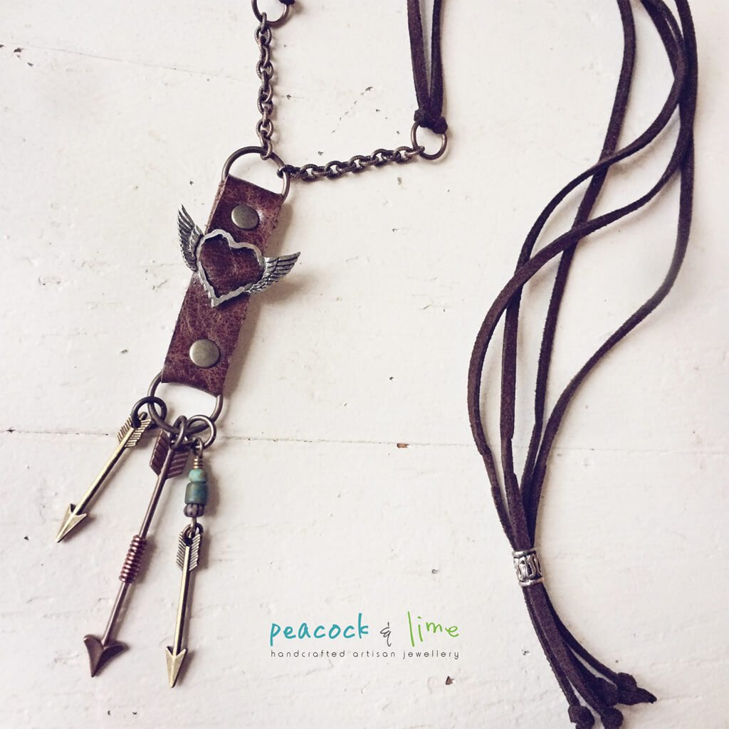 love struck arrows // leather artisan necklace - Peacock & Lime